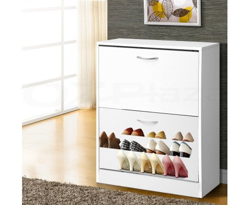 Shoe Organizer Cabinet for 24 Pairs w/ 2 Drawers in White