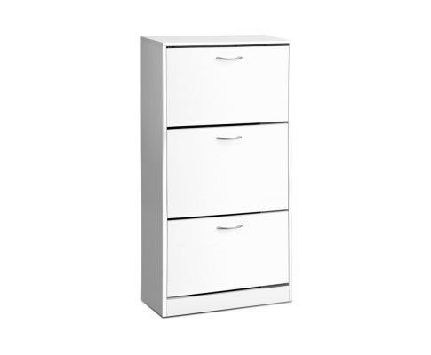 Shoe Organizer Cabinet for 36 Pairs w/ 3 Drawers in White