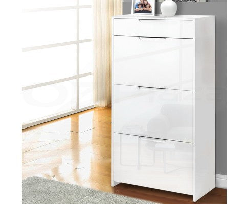 24 Pair High Gloss Wooden Shoe Cabinet - White