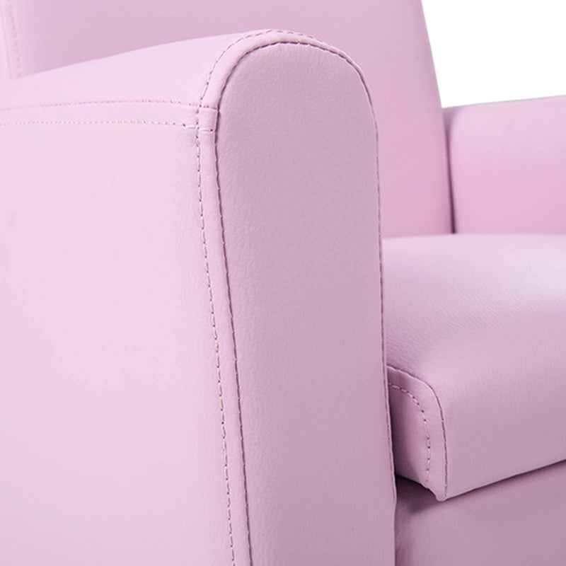 Child Double Seat With Storage Kids Sofa Childrens Lounge Arm Chair PU Leather Padded Seat Pink