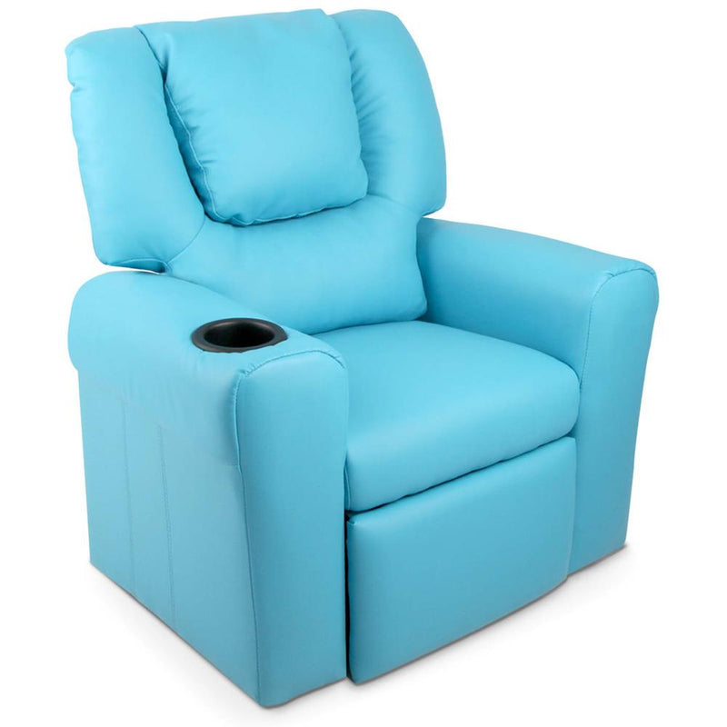 Kid's PU Leather Reclining Arm Chair - Blue