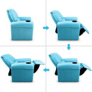 Childs Recliner Chair Luxury PU Leather Padding W/ Drink Holder Blue