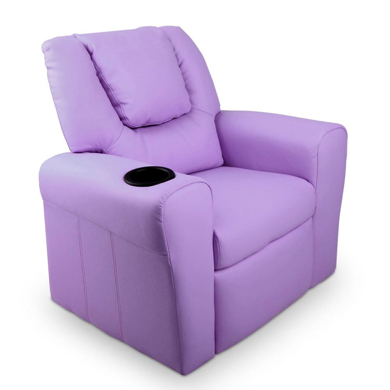 Kid's PU Leather Reclining Arm Chair - Purple