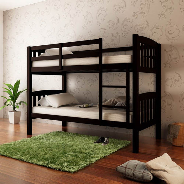 2-in-1 Solid Pine Timber Bunk Bed - Cappuccino