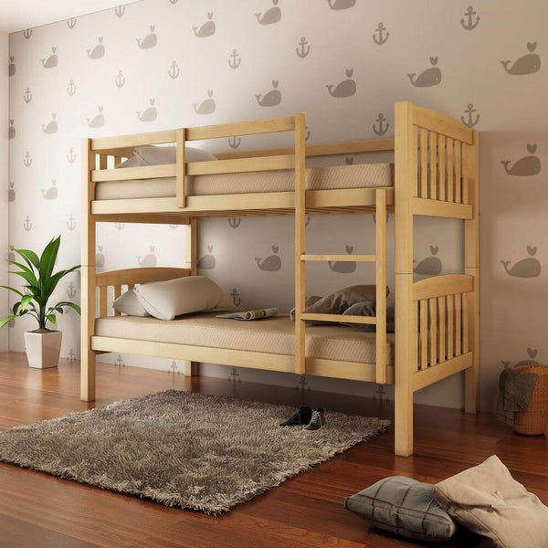 2-in-1 Solid Pine Timber Bunk Bed - Natural