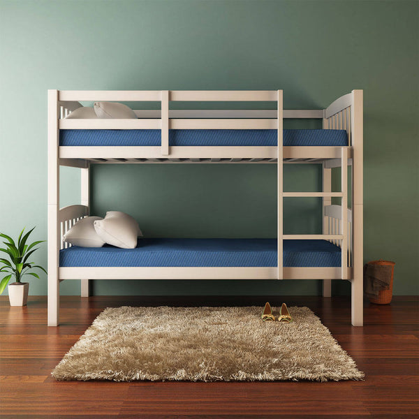 2-in-1 Solid Pine Timber Bunk Bed - White