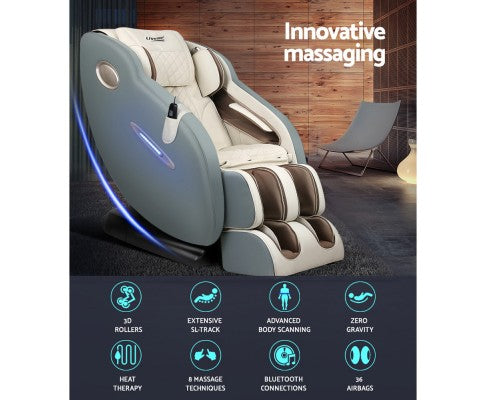 3D Electric Massage Chair SL Track Full Body Zero Gravity Shiatsu Navy Cream