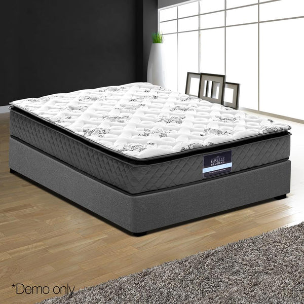 King Single Pillowtop Mattress Pocket Spring Foam Medium Firm 24cm Thick