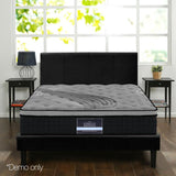 Double Mattress Euro Top 5 Zone Pockets Springs High Density Foam Medium-Firm Bamboo 34cm Black