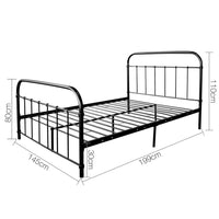 Grace Collection Double Size Metal Bed Frame - Black