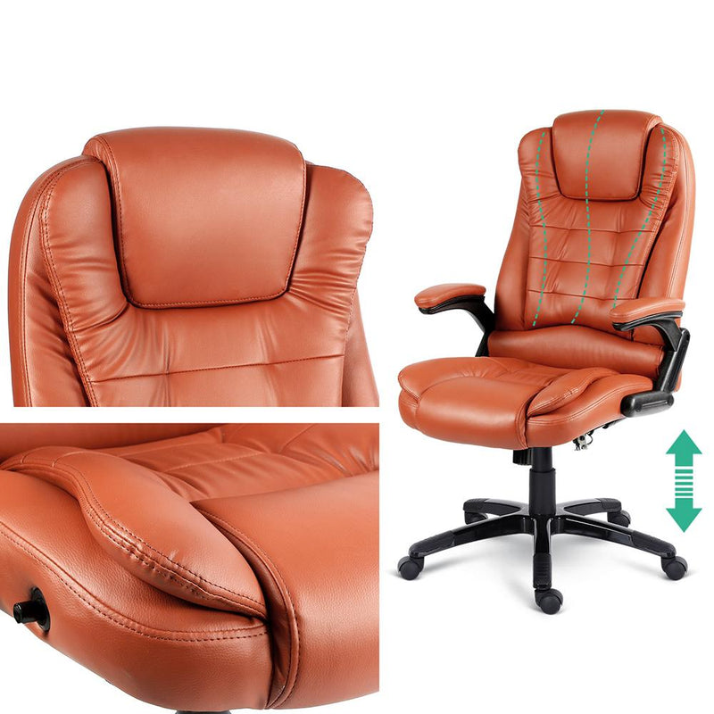 Premium 8 Point Massage Office Chair Heating Function PU Leather Amber