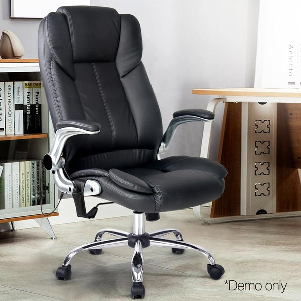 Premium 8 Point Massage Office Chair With Adjustable Armrest PU Leather Black