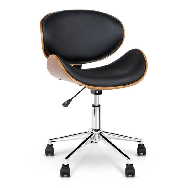 Wooden  & Leather Office Chair - Black