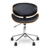 Retro Wooden Office Chair in PU Leather Padded Computer Gaming Executive Seat