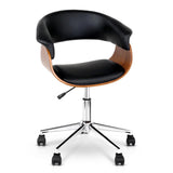 Wooden & PU Leather Office Chair - Black