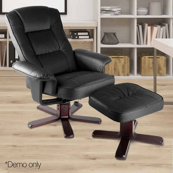 PU Leather Lounge Chair And Ottoman Wooden Recliner And Footrest Black