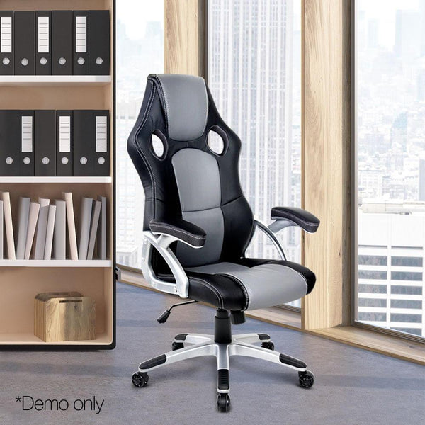 Racing Offce Chair PU Leather Executive Computer Gaming Chair High Back Black Grey