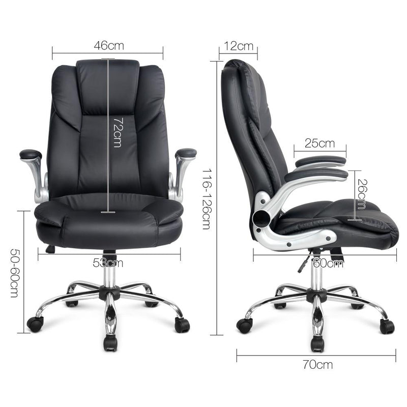 PU Leather Executive Office Chair With Adjustable Armrest High Back Black