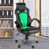 Racing Office Chair PU Leather Mesh High Back Seat Games Computer Green