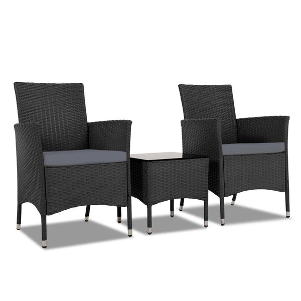 3 Piece Rattan Outdoor Furniture Set - Black