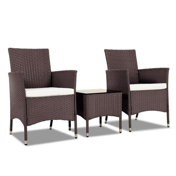 3 Piece Rattan Outdoor Furniture Set - Brown