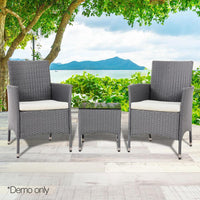 3 Piece Rattan Outdoor Furniture Set - Grey