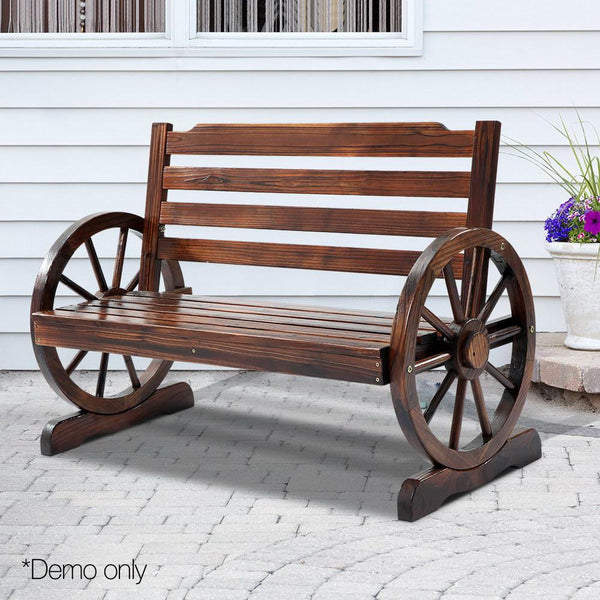 Wagon Wheel Outdoor Bench Park Wooden Garden Patio Chair Natural Fir