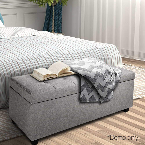 Large Ottoman W/ Storage Footstool Cushion Seat Blanket Toy Box Wood Classic Light Grey