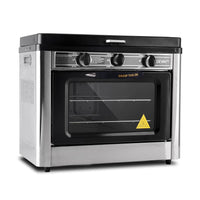 3 Burner Portable Oven - Silver & Black