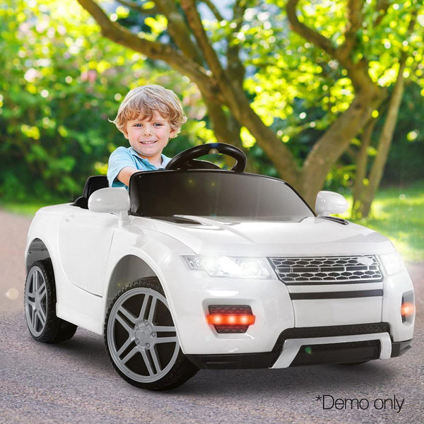 Childs Ride On Car Electric Ute With Remote Music Battery Range Rover EVOQUE Inspired White