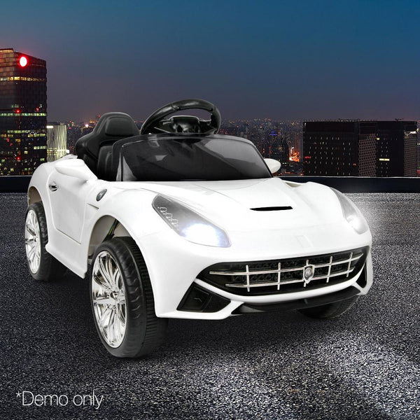 Childs Ride On Car Electric Ute With Remote Music Battery Ferrari F12 Inspired White