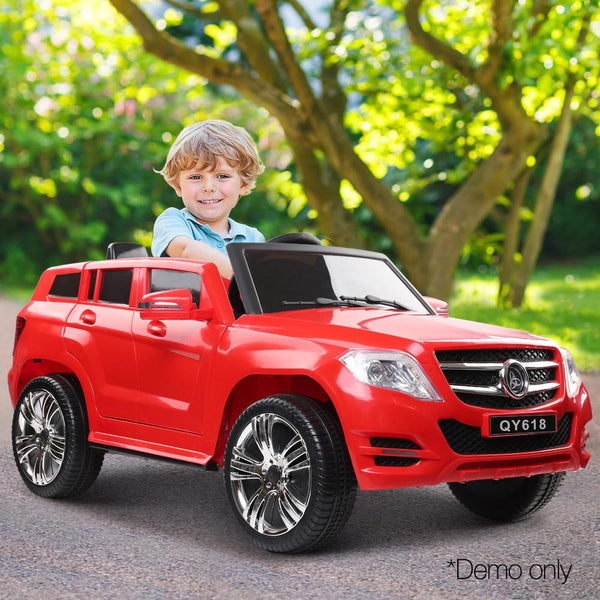 Childs Ride On Car Electric Ute With Remote Start Button Music Battery Mercedes Benz ML450 Inspired Red