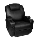 PU Leather 8 Point Heated Arm Chair - Black