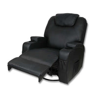 8 Point Heated Massage Recliner Chair 360° Swivel Padded Reclining Lounge Armchair PU Leather Black