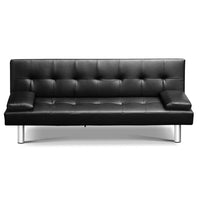 3 Seater PU Leather Reclining Lounge Chair - Black