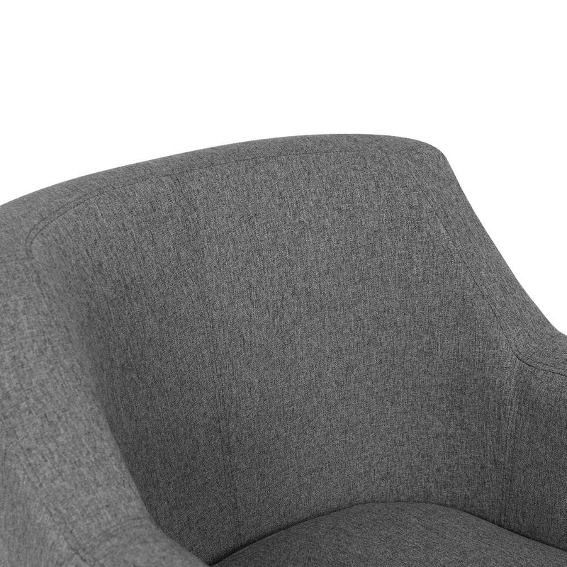 Armchair Wooden Accent Foam Padded Sofa Tub Dining Chair Fabric Grey