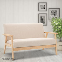 2 Seater Fabric Sofa Chair - Beige