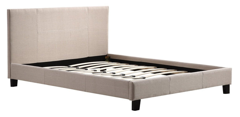Grace Collection Queen Linen Fabric Bed Frame Beige