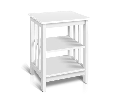 Bedside Coffee Table Timber 3 Tier Shelf Wooden White