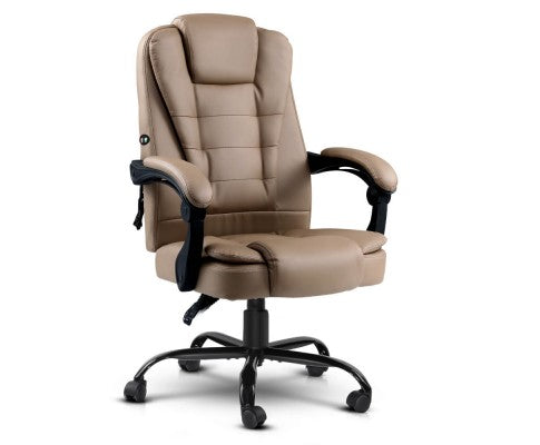 Massage Office Chair PU Leather Recliner Gas Lift Espresso