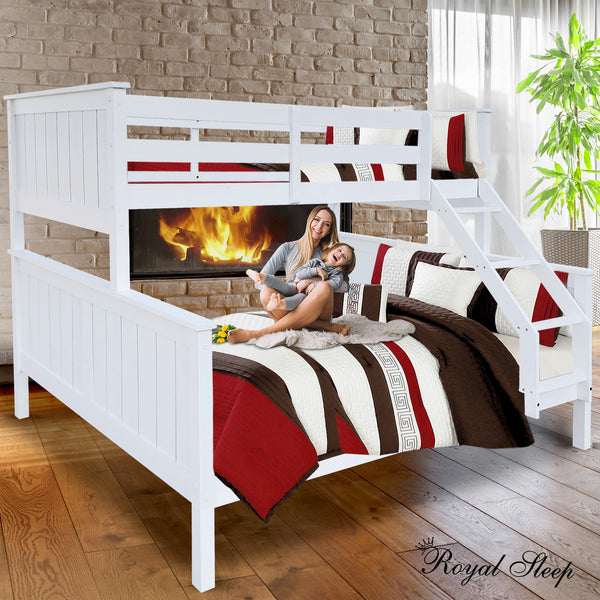 Bunk Beds Double Single Frame Solid White Children Bed Kids Bedroom Furniture