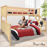 Grace Collection Triple Bunk Bed Single Over Double Solid Pine Wood Beige