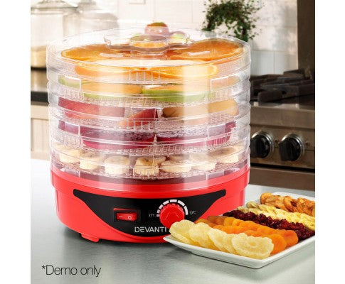 5 Trays Food Dehydrator Preserver For Fruit Meats Jerky Dryer Round Red
