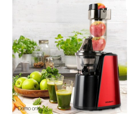 Cold Press Slow Juicer Processor For Fruit Vegetable Stainless Steel Processor Mixer 150W Red