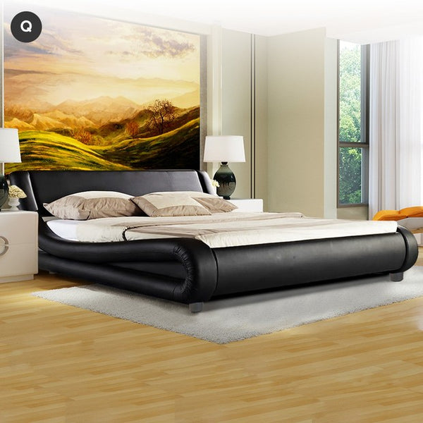 Queen Size Curved PU Black Leather Bed Frame & Euro Top Mattress Package