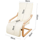Fabric Rocking Arm Chair with Adjustable Footrest - Beige