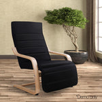 Fabric Rocking Arm Chair with Adjustable Footrest  Black