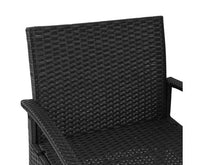 3pc Outdoor Rattan Set Of Table 2 Chairs With Cushion PE Wicker Black