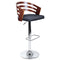 Wooden Bar Stool with Fabric Seat - Dark Grey