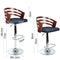 Wooden Bar Stools Gas Lift w/ Fabric Seat for Kitchen Dining Room